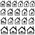 Pictograms of families in houses on white background Royalty Free Stock Images
