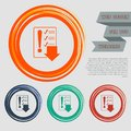 Pictograph of checklist icon on the red, blue, green, orange buttons for your website and design with space text. Royalty Free Stock Photo