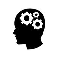Pictograph of Gear in Head icon - vector iconic design Royalty Free Stock Photo