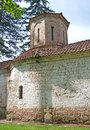 Pictorial facade and tower of an old Orthodox monastery, Serbia Royalty Free Stock Photo