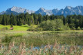 Pictorial lake tennsee and karwendel mountains Royalty Free Stock Photo