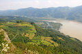 Pictorial landscape of Drina river and sunny fields, Serbia Royalty Free Stock Photo