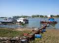 Pictorial rafts opposite the city on the river Sava in Belgrade Royalty Free Stock Photo