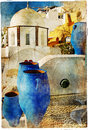 Pictorial Santorini streets Royalty Free Stock Photos