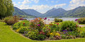 Pictorial seafront schliersee bavarian alps of lake flower beds and Stock Photo