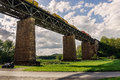 Pictorial view of a train bridge in germany fast passing over Stock Photography
