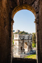 Picture of Arch of Constantine taken from Coliseum. Rome, Italy Royalty Free Stock Photo