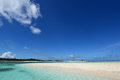 Picture of a beautiful beach in okinawa summer sky and Stock Images
