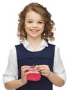 Girl with coin purse Royalty Free Stock Photo