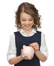 Picture beautiful girl piggy bank Royalty Free Stock Image