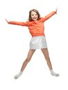 Picture beautiful jumping girl casual clothes Stock Photography
