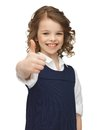 Picture beautiful pre teen girl showing thumbs up Royalty Free Stock Image