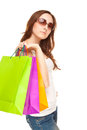 Picture of a beautiful woman with shopping bags Royalty Free Stock Photo