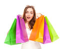 Picture of a beautiful woman with shopping bags colorful Royalty Free Stock Photo