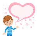 The picture of the boy and bubble for your text in heart shape.