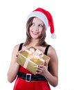 Picture of cheerful santa helper girl with gift box this image has attached release Stock Photo