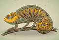 Picture of colorful chameleon lizard in graphic style. Royalty Free Stock Photo