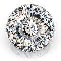 Picture diamond jewel on white background. Beautiful sparkling shining round shape emerald image. 3D render brilliant Royalty Free Stock Photo