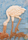 Picture of egret made from rice seed. Royalty Free Stock Photos