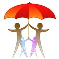 The picture of family under a large red umbrella illustration Stock Photography
