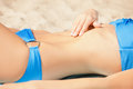 Picture of female belly and bikini closeup Royalty Free Stock Photo