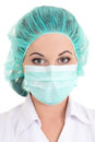Picture of female doctor in mask over white background Royalty Free Stock Images