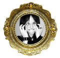 Picture frame and funny face Stock Images