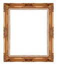 Picture frame gold wood in white background Stock Image