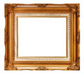 Picture frame gold wood in white background Royalty Free Stock Photo