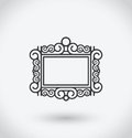 Picture frame Icon on white background.