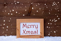 Picture Frame With Text Merry Xmas, Snow, Snowflakes