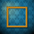 Picture frame on wallpaper background Royalty Free Stock Images