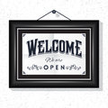 Picture frame welcome label with hanging on wall Stock Photography