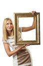 Picture frame and  woman Stock Photos