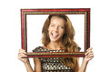 Picture frame and  woman Stock Photography