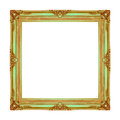 Picture frame wooden carved frame pattern isolated on white back Royalty Free Stock Photo