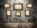Picture frames on a stone grange background image Stock Photos