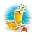 Picture a glass of orange juice on the beach