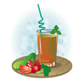 Picture a glass of vegetable juice and vegetables