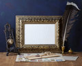 Picture gold frame and quill pen old letters vintage a Stock Photo