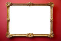 Picture gold frame on red painted wall Royalty Free Stock Photo