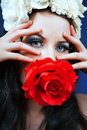Picture gorgeous woman holding beautiful red rose rose Royalty Free Stock Photo