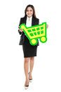 Picture of happy businesswoman holding sign of shopping chart isolated on white background Royalty Free Stock Photography