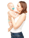 Picture of happy mother with adorable baby isolated on white Royalty Free Stock Photography