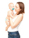 Picture of happy mother with adorable baby isolated on white Stock Photo