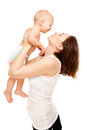 Picture of happy mother with adorable baby isolated on white Stock Photos