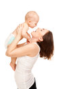 Picture of happy mother with adorable baby isolated on white Stock Photography