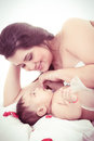 Picture of happy mother with baby over white this image has attached release Royalty Free Stock Images