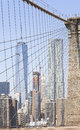 Picture of Manhattan skyscrapers seen from Brooklyn Bridge, NYC, Royalty Free Stock Photo