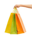 Picture of multi colored shopping bags closeup or Royalty Free Stock Images
